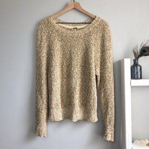 Free People Tan Knit Sweater Size Medium